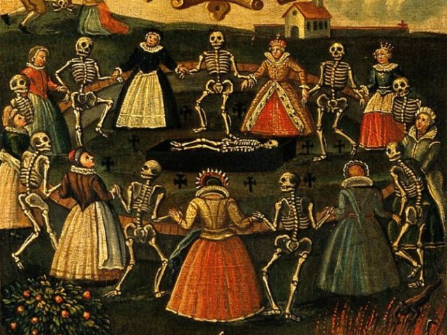 V0017615 The dance of death. Oil painting.