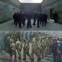 La naranja mecánica, Stanley Kubrick (1971) Ronda de presos, Vincent Van Gogh (1890).